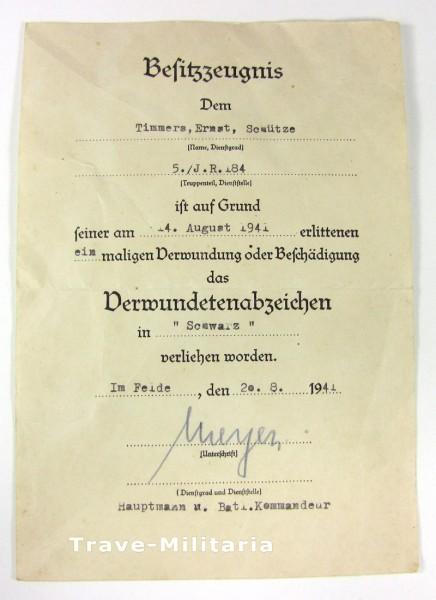 Urkunde Verwundetenabzeichen in Schwarz