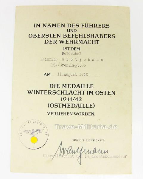 Urkunde zur Medaille Winterschlacht im Osten Grenadier Regiment 65