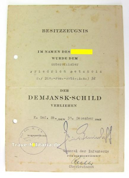 Besitzzeugnis zum Demjansk - Schild