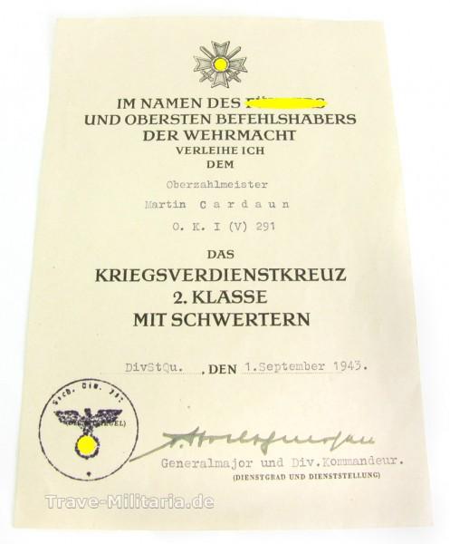 Urkunde zum Kriegsverdienstkreuz 2. Klasse mit Schwertern