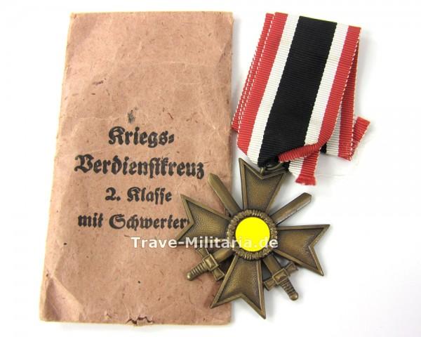 Kriegsverdienstkreuz 2. Klasse mit Schwertern am Band in Verleihungstüte