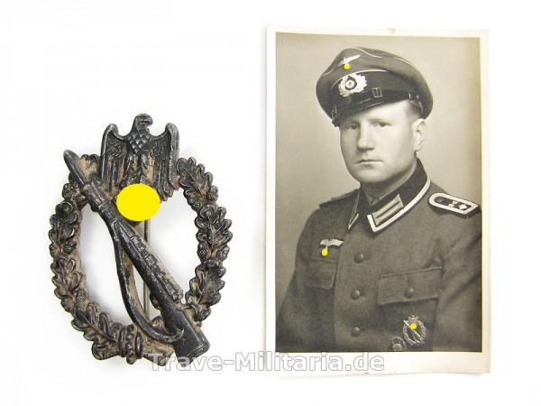 Infanteriesturmabzeichen in Silber BSW mit Trägerfoto