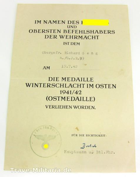 Einzelurkunde Medaille Winterschlacht im Osten an Gebirgsjäger G.J.R. 99