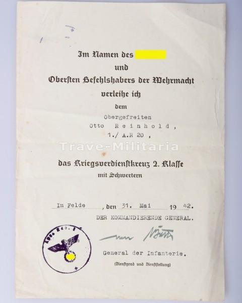 Urkunde Kriegsverdienstkreuz 2.Klasse mit Schwertern Artillerie-Regiment 20