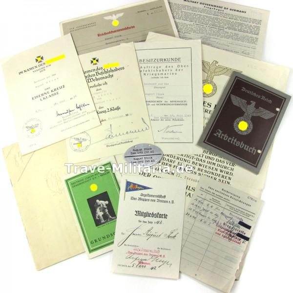 Urkunden eines Torpedoboot-Offiziers