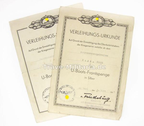 2er Urkundengruppe U-Boots-Frontspange Bronze und Silber