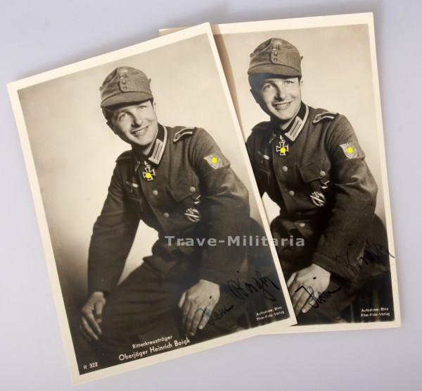 Postkarte Ritterkreuzträger des Heeres Heinrich Boigk Originalunterschift