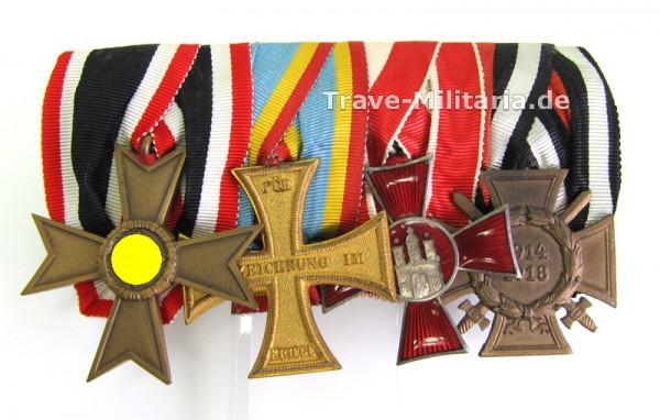 4er Ordenspange KVK 2. Klasse, Mecklenburg, Hamburg und Frontkämpferabzeichen