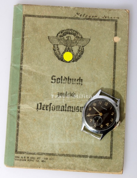 Soldbuch Metzger SS-Polizei-Regiment 21 mit Dienstuhr