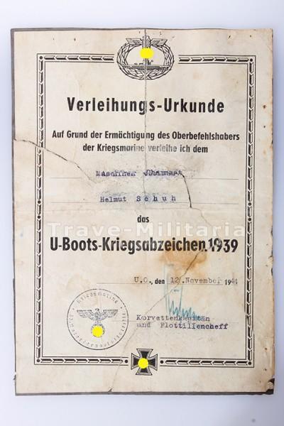 Verleihungsurkunde zum U-Bootskriegsabzeichen 1939 DIN A5 | Urkunden ...