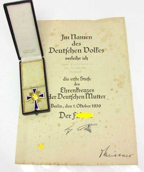 Ehrenkreuz der Deutschen Mutter in Gold im Etui mit Urkunde