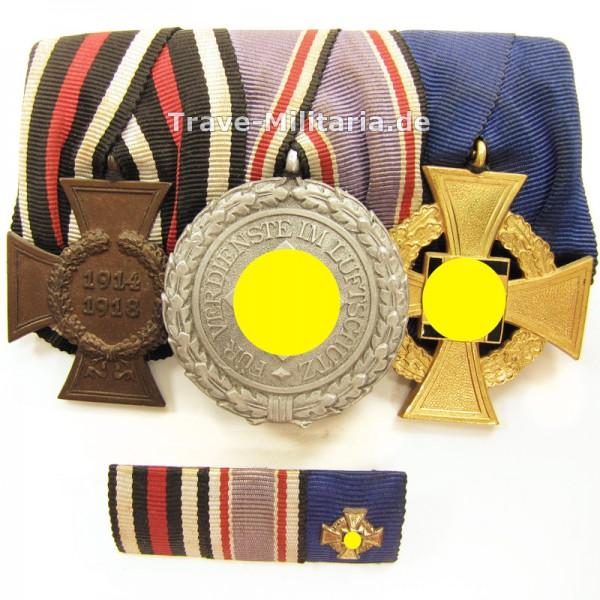3er Ordenspange mit Luftschutz-Ehrenzeichen 2. Klasse und Treuedienstehrenzeichen 40