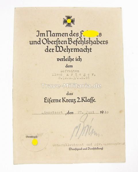 Urkunde zum Eisernen Kreuz 2. Klasse Frankreichfeldzug 30. ID