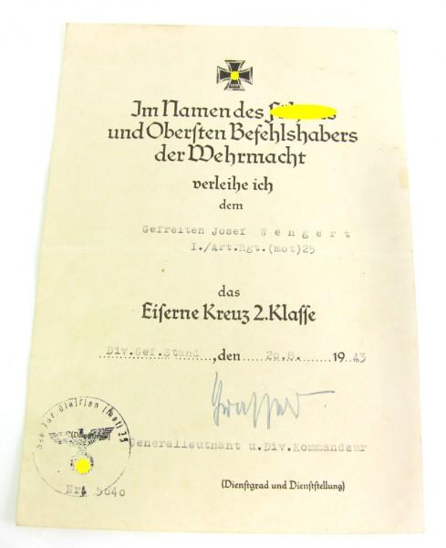 Urkunde zum EK 2 Art.Rgt.(mot) 25