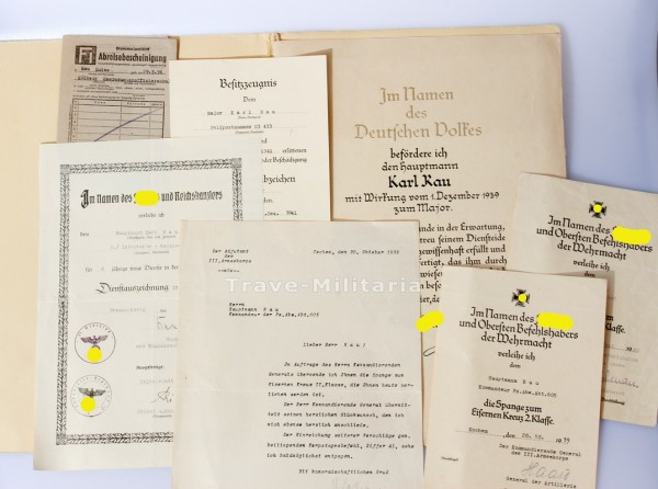 Urkundengruppe Rau Pz. Jg. Abt. 605 Wiederholungsspange 1 und 2 Klasse