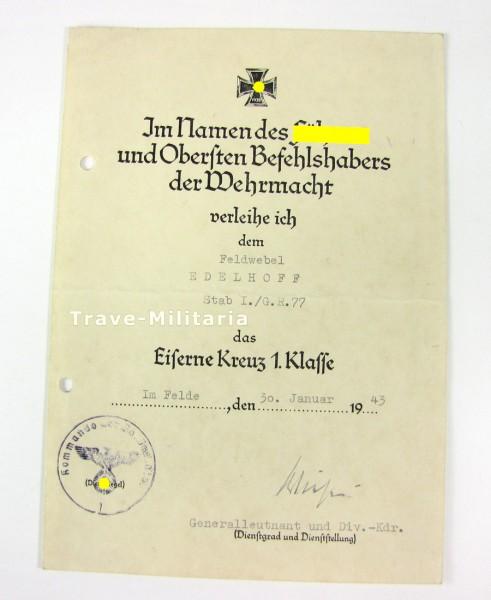 Urkundengruppe - Urkunde Nahkampfspange Bronze