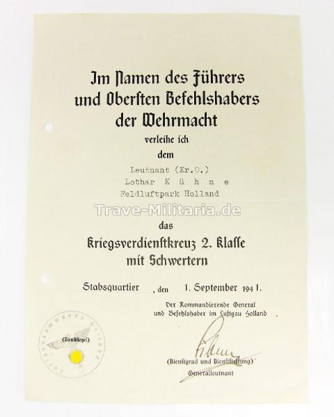 Urkunde zum Kriegsverdienstkreuz 2. Klasse mit Schwertern Luftwaffe