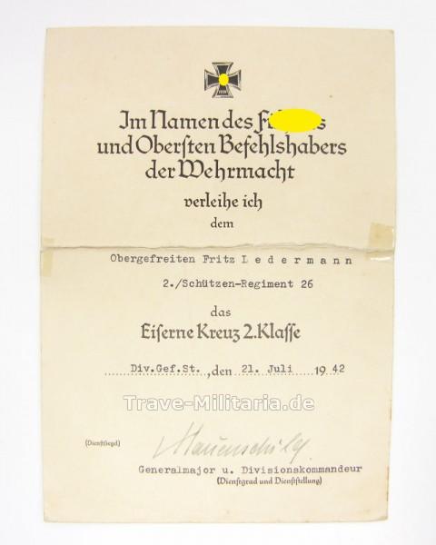 Urkunde Eisernes Kreuz 2. Klasse 24. Panzerdivision