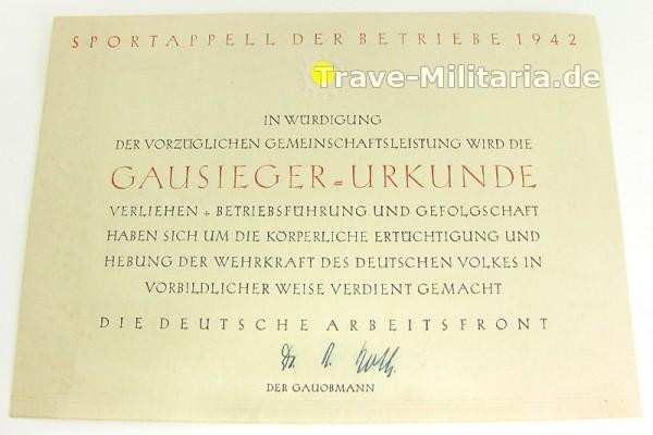 Gausieger-Urkunde - Sportappell der Betriebe 1942