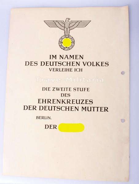 Urkunde Ehrenkreuz der Deutschen Mutter in Silber (blanco)