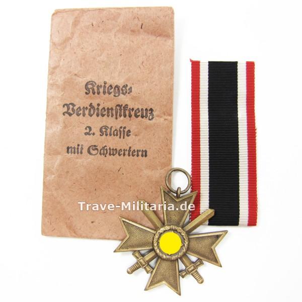 Kriegsverdienstkreuz 2. Klasse mit Schwertern in Verleihtüte Hersteller 6