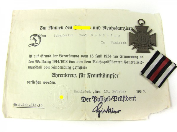 Ehrenkreuz für Frontkämpfer mit Urkunde Wandsbek