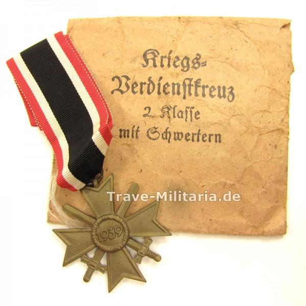 Kriegsverdienstkreuz 2. Klasse mit Schwertern in Verleihtüte Poellath