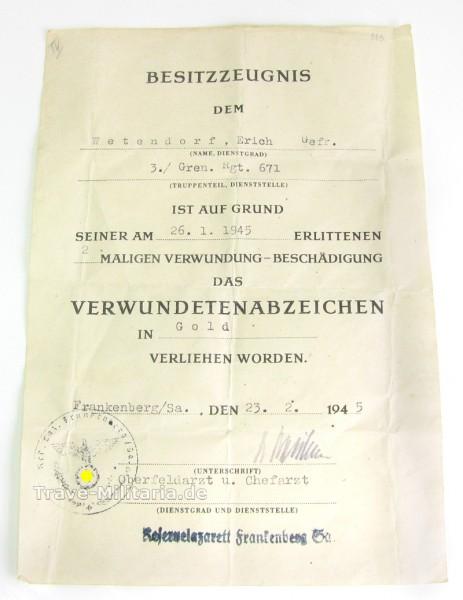 Urkunde Verwundetenabzeichen in Gold
