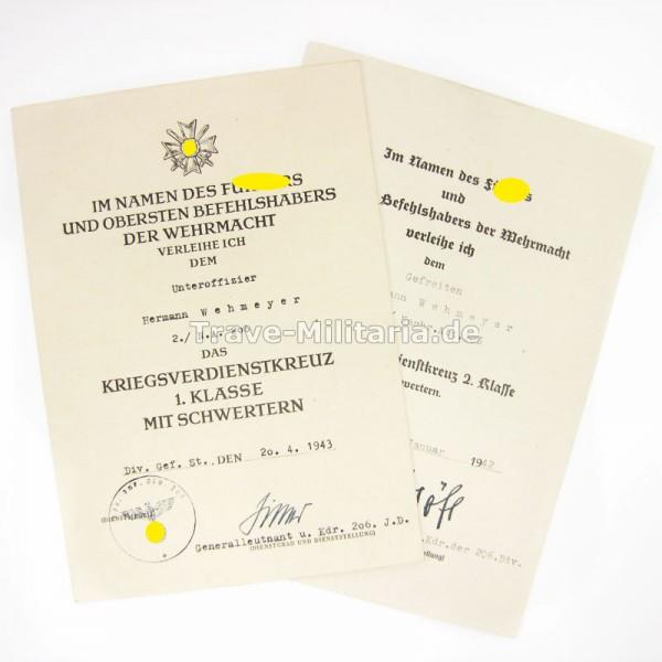 2 Urkunden zum KVK 1. und 2. Klasse Nachrichten-Abteilung 206