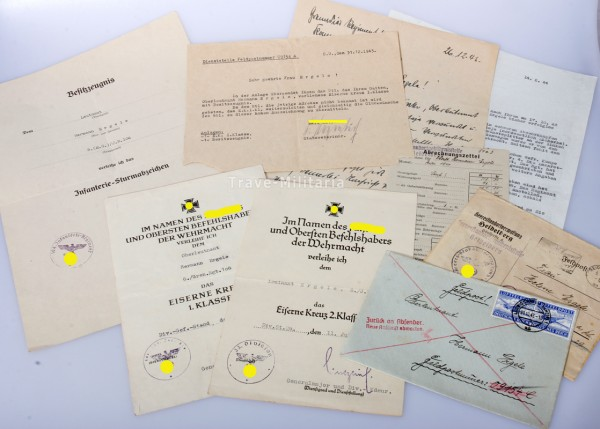 Urkundengruppe Oblt. Ergele I.R.104/33.I.D. 1943/44 vermisst