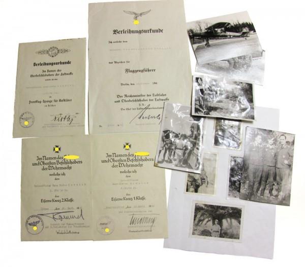 Flieger Nachlass Komnick, Urkundengruppe mit Orginal Unterschrift Erwin Rommel