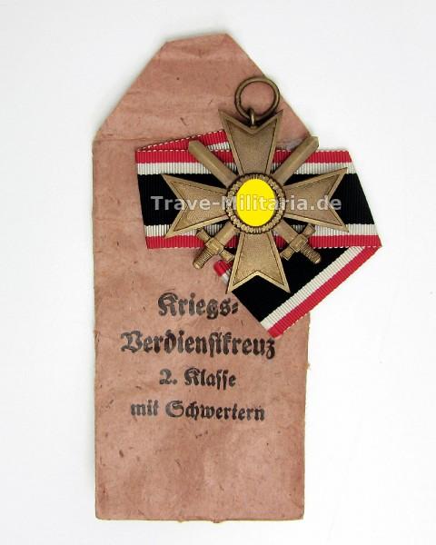 Kriegsverdienstkreuz 2. Klasse mit Schwertern in Verleihtüte