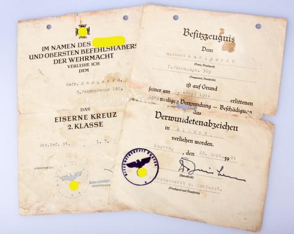 Urkundenpaar Marquard Fahrkolonne 240 / Gren. Rgt. 369