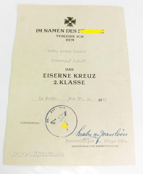 Urkunde zum EK 2 Füsilier Regiment 68