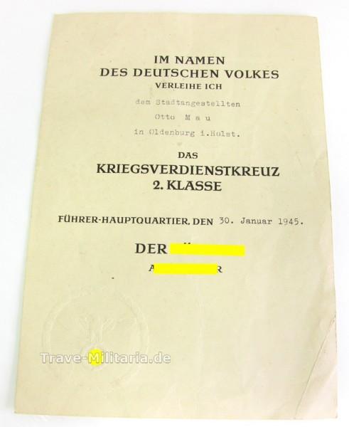 Urkunde zum Kriegsverdienstkreuz 2. Klasse DinA 5 von 1945