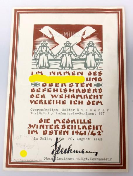 Schmuckurkunde Medaille Winterschlacht im Osten I.R. 487
