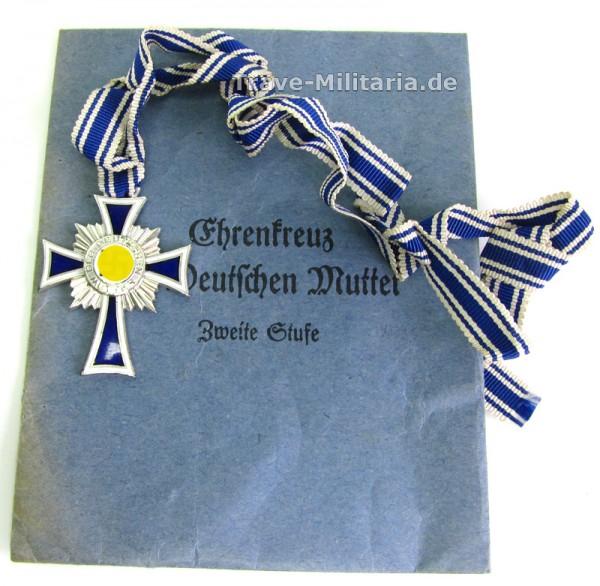 Ehrenkreuz der Deutschen Mutter 2. Stufe in Silber mit Tüte von Moritz Hausch Pforzheim
