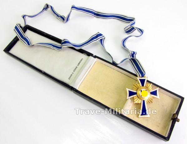 Ehrenkreuz der Deutschen Mutter in Gold mit Etui - Hersteller Ziemer und Söhne
