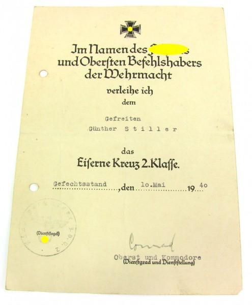 Urkunde zum Eisernen Kreuz 2. Klasse 1939 der Luftwaffe