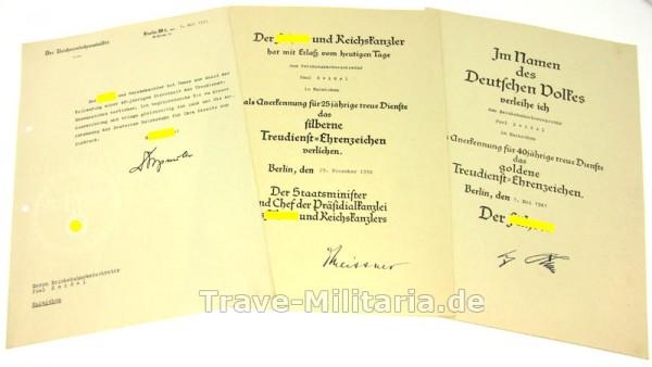 Urkunden Treuedienstehrenzeichen 25 und 40 Jahre