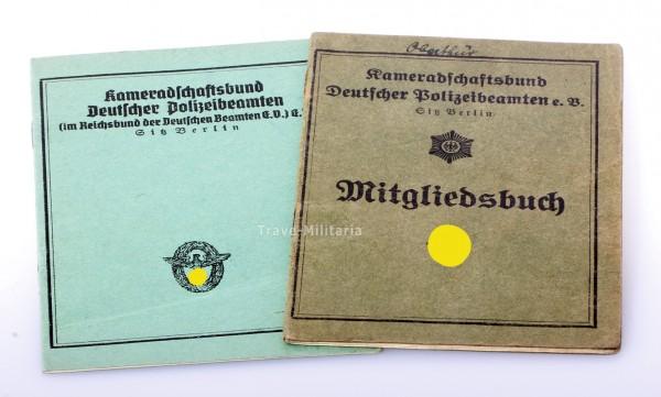2x Mitgliedsbuch Kameradschaftsbund Deutscher Polizeibeamten e.V.