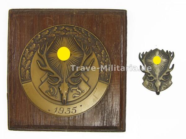 Ehrenpreis Plakette Deutsche Jägerschaft 1935 auf Holzplatte