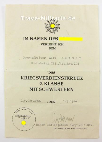 Urkunde Kriegsverdienstkreuz 2. Klasse mit Schwertern Art.-Rgt. 278