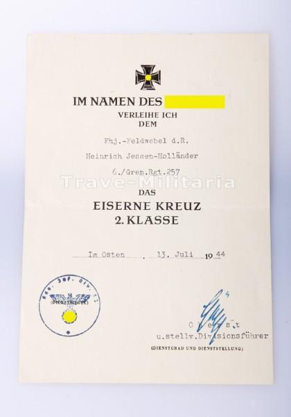 Verleihungsurkunde - Eisernes Kreuz 2.Klasse