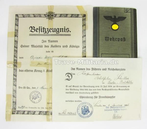 Papiernachlass Schiller 2 Urkunden und 2 Pässe