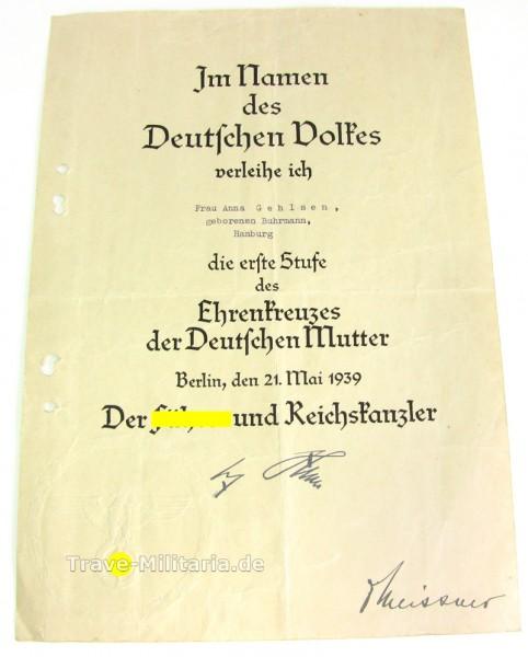 Urkunde Ehrenkreuz der Deutschen Mutter Gold