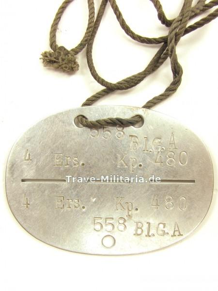 Erkennungsmarke 4. Ers.Kp. 480 558 Bl.G.A