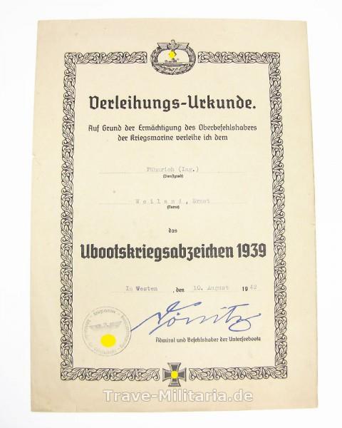 Urkunde Ubootkriegsabzeichen 1939 Fähnrich(Ing.)