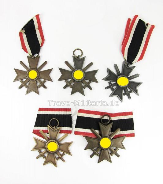 Lot 5 Kriegsverdienstkreuze 2. Klasse mit Schwertern