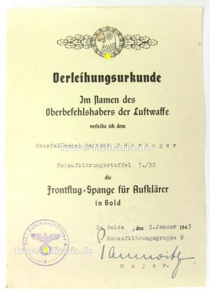 Urkunde zur Frontflugspange für Aufklärer in Gold - Nahaufklärerstaffel 7./32 - DKiG